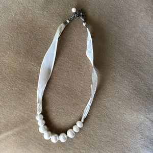 Pearls on a ribbon short necklace